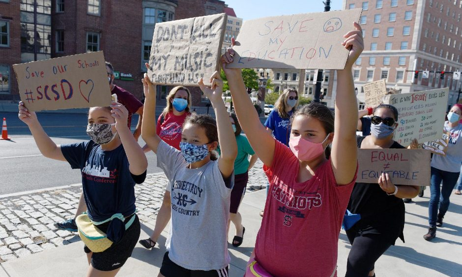 Students, teachers and parents from Schenectady High and other local schools protest outside the state Capitol on Sept. 4