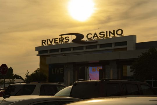 The sun begins to set behind Rivers Casino in Schenectady on its reopening day, Sept. 9, 2020.