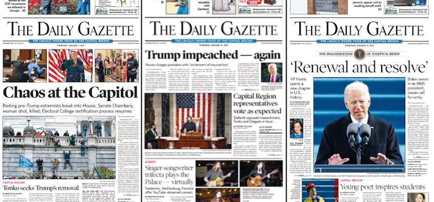 Daily Gazette front pages from January