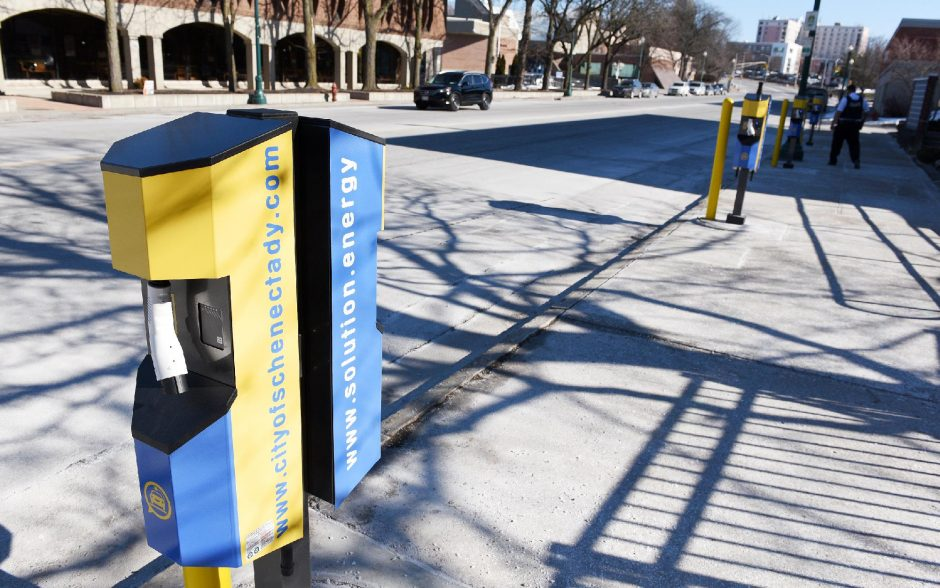 ERICA MILLER/THE DAILY GAZETTE A charging station on Liberty Street in Schenectady is pictured on Monday.