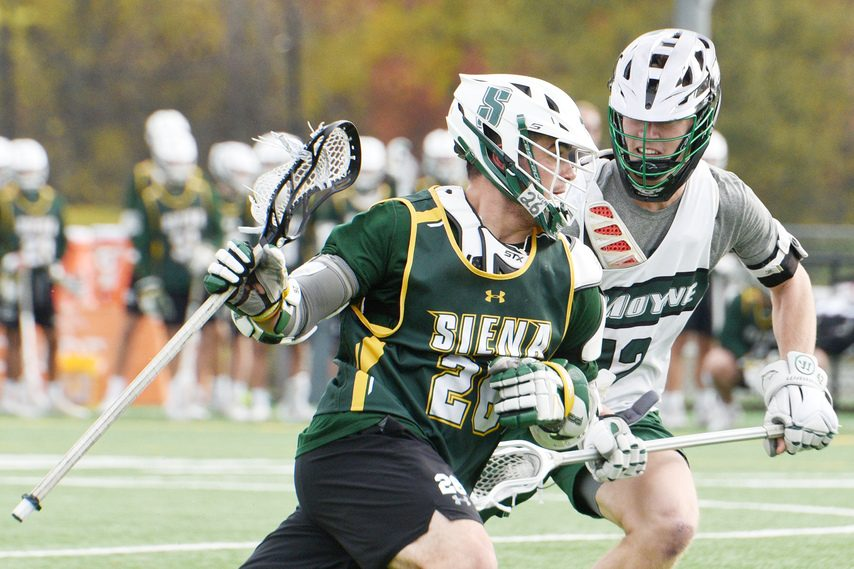 ERICA MILLER/GAZETTE PHOTOGRAPHER Niskayuna graduateDylan Pantalone has been named a Siena men's lacrosse captain for the second year in a row.