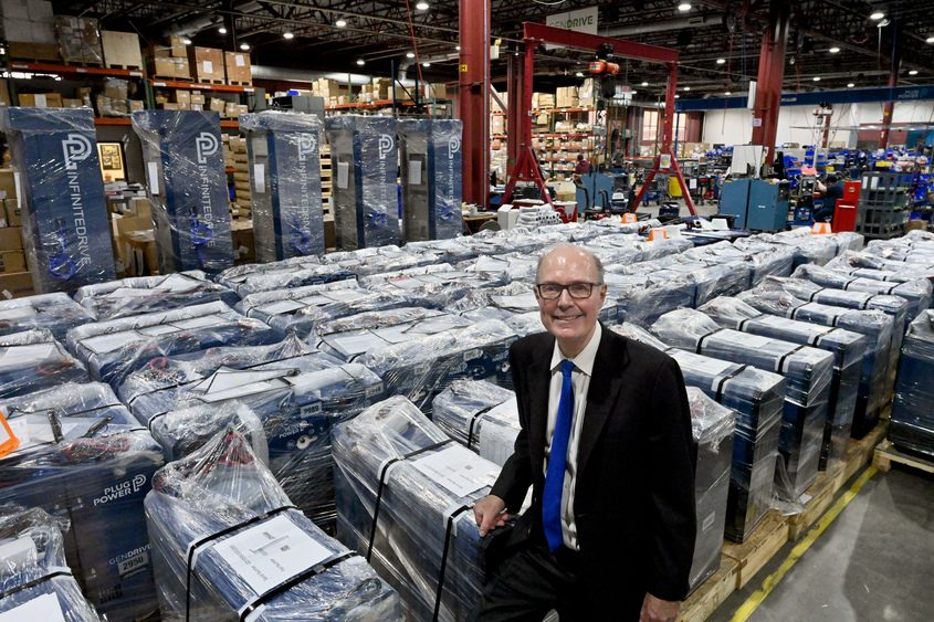 MARC SCHULTZ/GAZETTE PHOTOGRAPHERPlug Power CEO Andy Marsh poses in the production facility in Latham in February 2019.