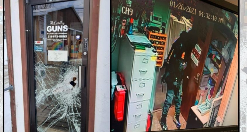 Left: Damage done to the McCarthy Guns front door; Right: A surveillance still image released of the suspect. Credit: McCarthy Guns Facebook page, left, and police, right