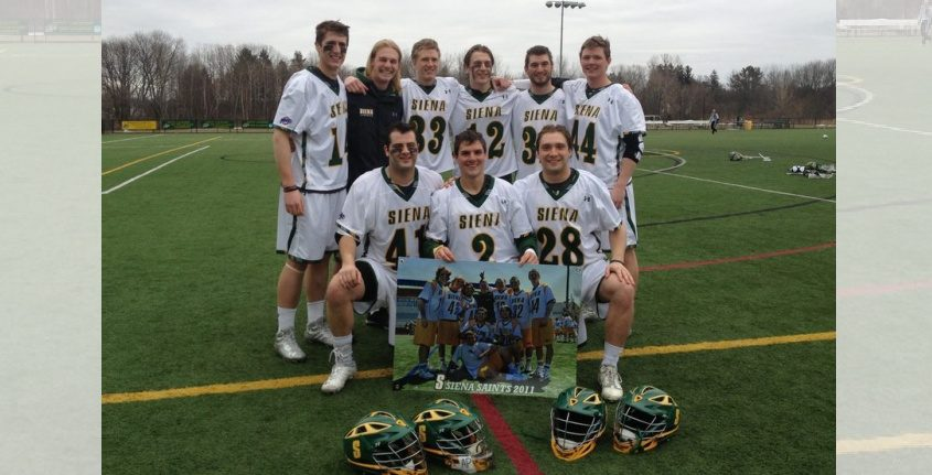Former Siena lacrosse player Colin Clive, back row left, poses with teammates in 2014. Provided