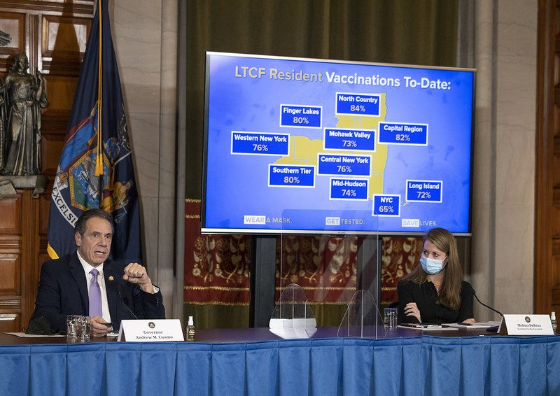 GOVERNOR'S OFFICEGov. Andrew Cuomo discusses COVID vaccination at a news conference Wednesday in the state Capitol.