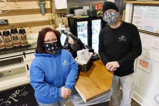 Spa Cafe on Broadway owner Darin Palmetto, of Saratoga Springs, and manager Angelina Ryall, of Saratoga Springs, stand inside the cafe, which will be selling lobster and crab corn chowder for this year's week-long Saratoga Chowder Tour. (Erica Miller/The Daily Gazette)