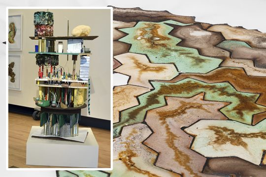 """Folly,"" left, is one of Terry James Conrad's large presses. Shown at right: handmade inks made from dirt, sawdust, walnuts and metals, creating earthy hues on paper. (Photos: Rob O'Neil/P.D. Rearick)"