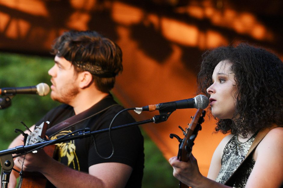 Moriah Formica performs onstage with Ben Zoleski at the Clifton Commons outdoor theater in Clifton Park on Aug. 4, 2019.(Erica Miller/The Daily Gazette)