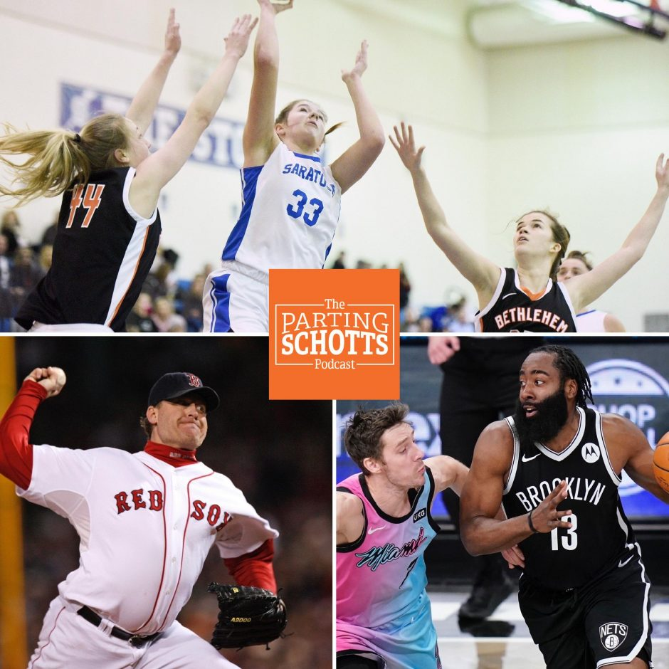 Gazette file photo, Associated Press photosClockwise: The start of high school 'high' risk winter sports, the Brooklyn Nets and the Baseball Hall of Fame are the topics on the latest 'The Parting Schotts Podcast.'