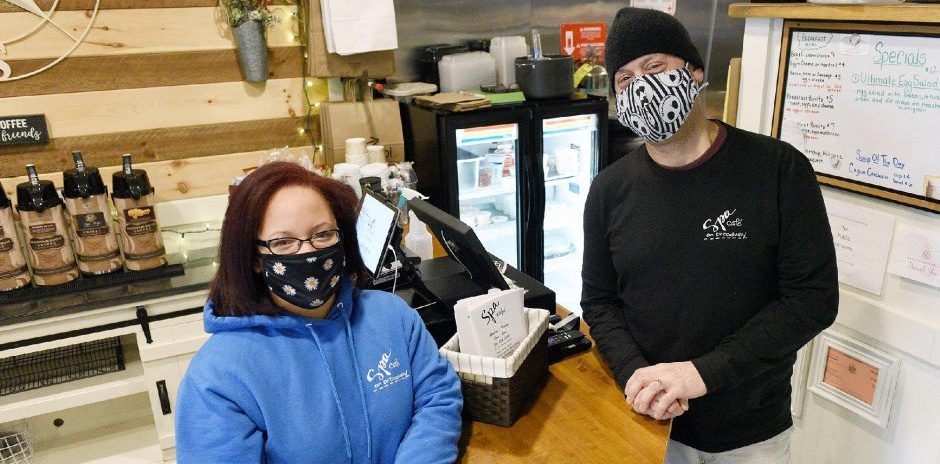 Spa Cafe on Broadway owner Darin Palmetto, of Saratoga Springs, and manager Angelina Ryall, of Saratoga Springs, inside the cafe