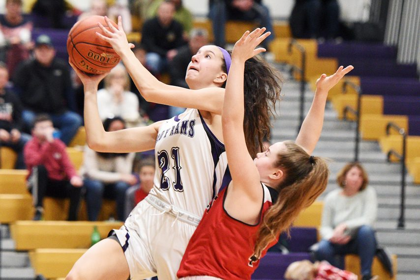 Amsterdam girls' basketball player Antonia May makes a layup during a Feb. 3 game against Glens Falls at Amsterdam High School.