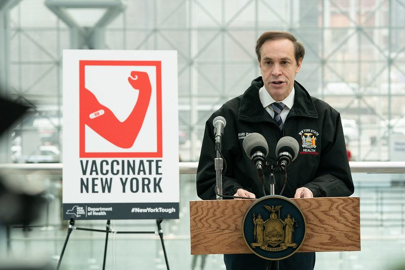 GOVERNOR'S OFFICENew York state Health Commissioner Dr. Howard Zucker speaks at the opening of a state-run COVID vaccination site on Jan. 13.