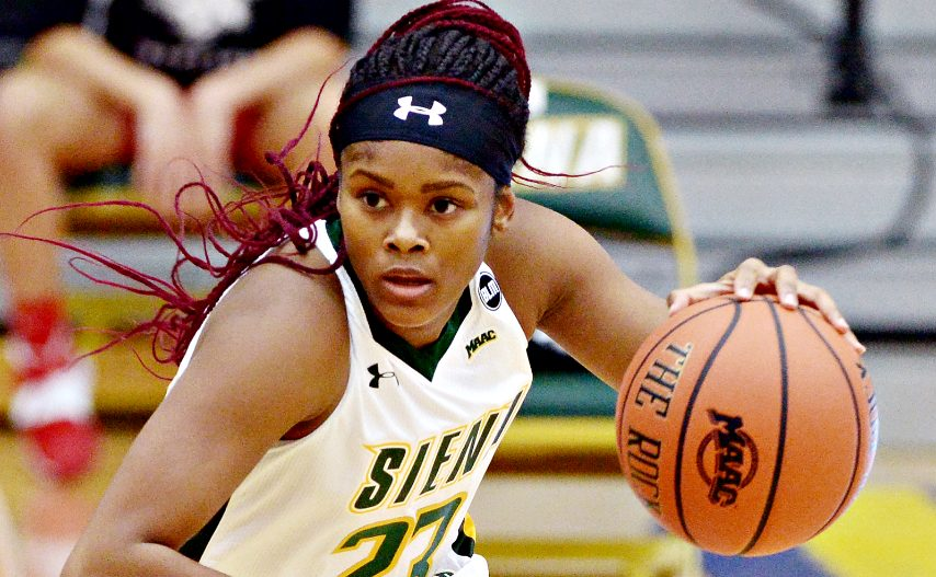 Siena's Isis Young is shown during a game earlier this season. (Erica Miller/The Daily Gazette)