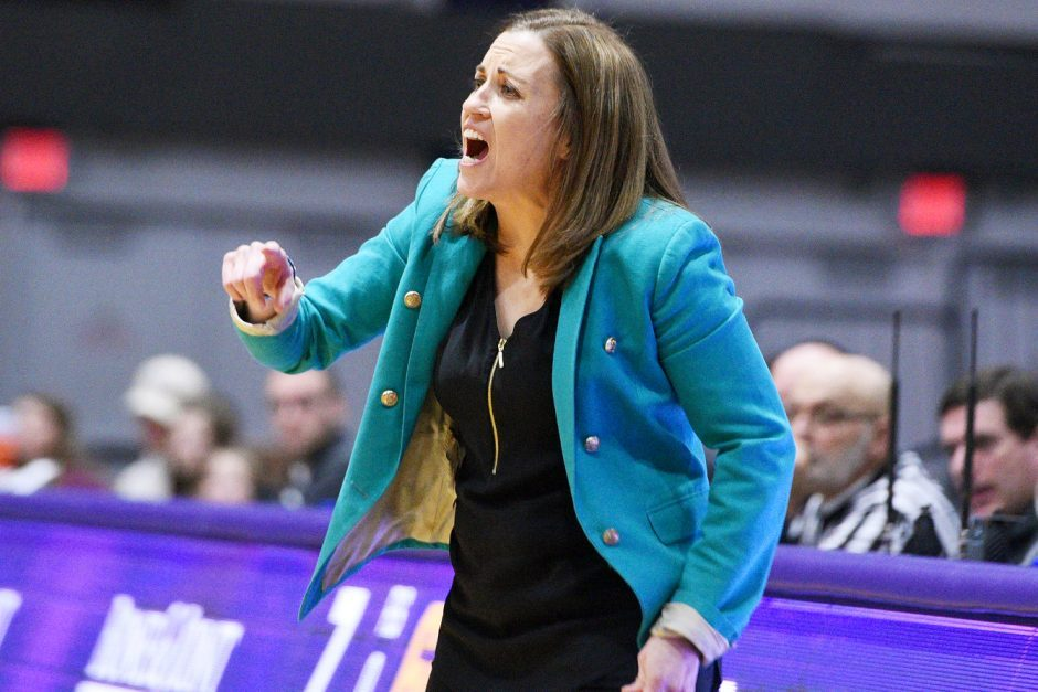 UAlbany women's basketball head coach Colleen Mullen is shown in a game from a previous season. (Gazette file photo)