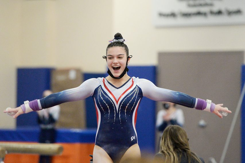 Saratoga Springs gymnast Sophia Damiano, pictured during a meet on Jan. 22, broke her own Section II record in the vault on Sunday.