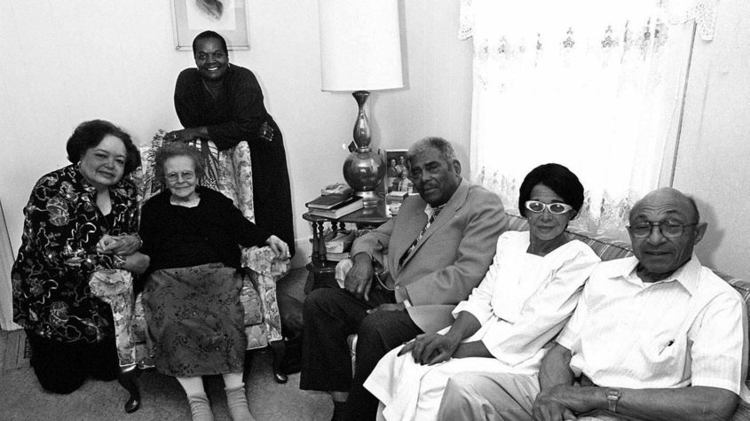 The Schenectady Silhouettes pose for a photo in 2001. Founding members include, from left, Eveyln Baird, Marsha Mortimore (background), Minnie Stamper (seated), Hilvan Finch, Corine Sadler and James Stamper. Gazette file photos