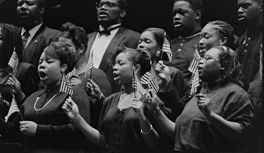 Members of the Refreshing Spring Young Adult Choir, under the direction of Sister Georgetta Dix, perform during inauguration ceremonies for the Schenectady City Council on Jan. 1, 1996.Historians are reaching out to churches and other organizations tohelp preserve and make available local Black history. Gazette file photo