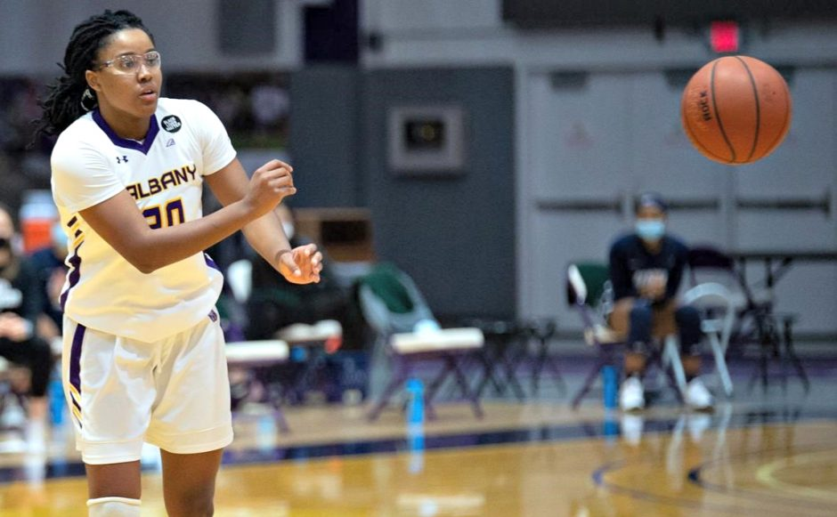 Kayla Cooper is shown during a game earlier this season. (Photo courtesy Kathleen Helman/UAlbany Athletics)
