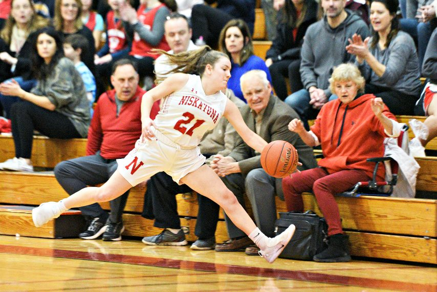ERICA MILLER/THE DAILY GAZETTENiskayuna's Kate St. Lucia reaches to save the ball during their high school basketball game at Niskayuna High School on Friday, January 31, 2020.