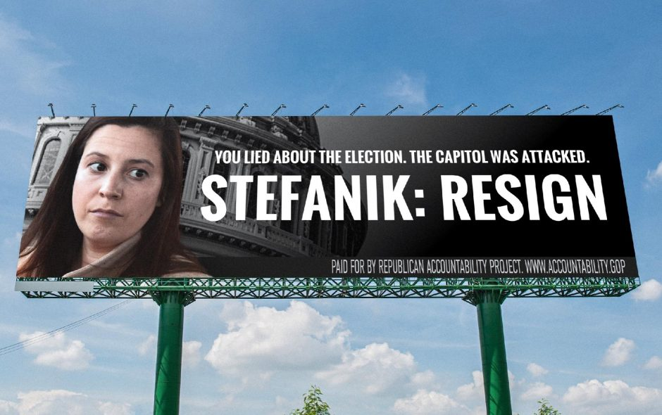 A billboard paid for by the Republican Accountability Project seeks the resignation of U.S. Rep. Elise Stefanik.(Photo provided)