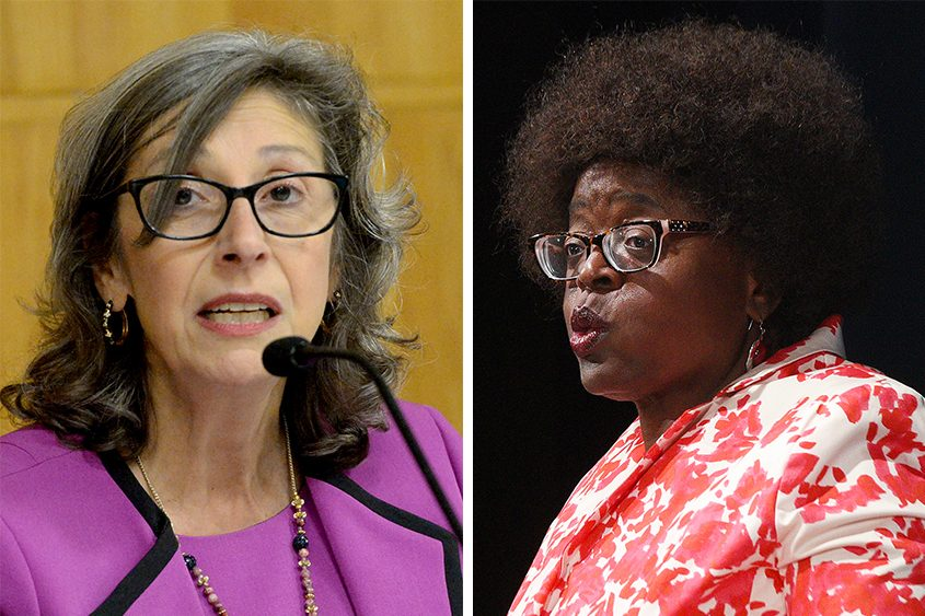 Schenectady City Councilwomen Carmel Patrick, left, and Marion Porterfield are seen in file photos. (The Daily Gazette)