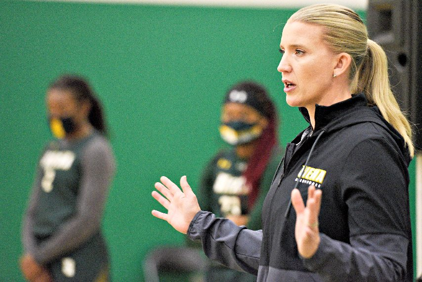 Siena head coach Ali Jaques is shown during a preseason media availability. (Erica Miller/The Daily Gazette)