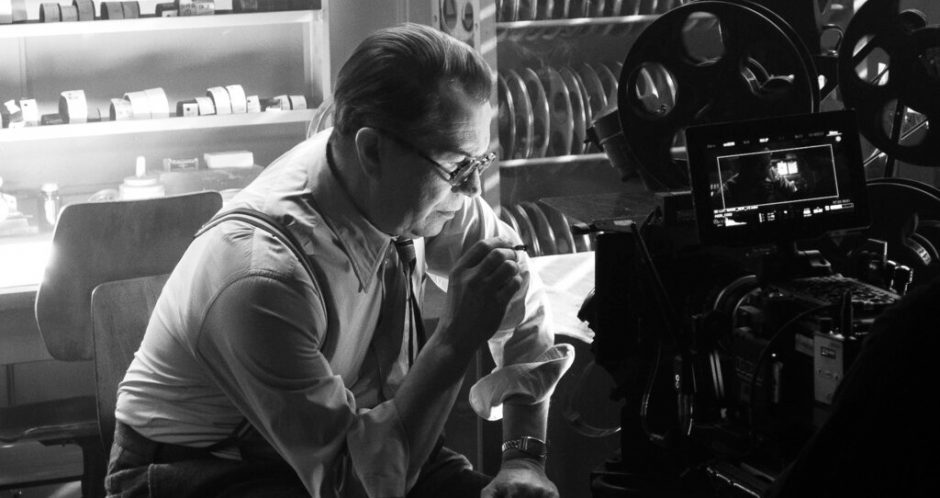 "In this image released by Netflix, Gary Oldman portrays Herman Mankiewicz in a scene from ""Mank."""