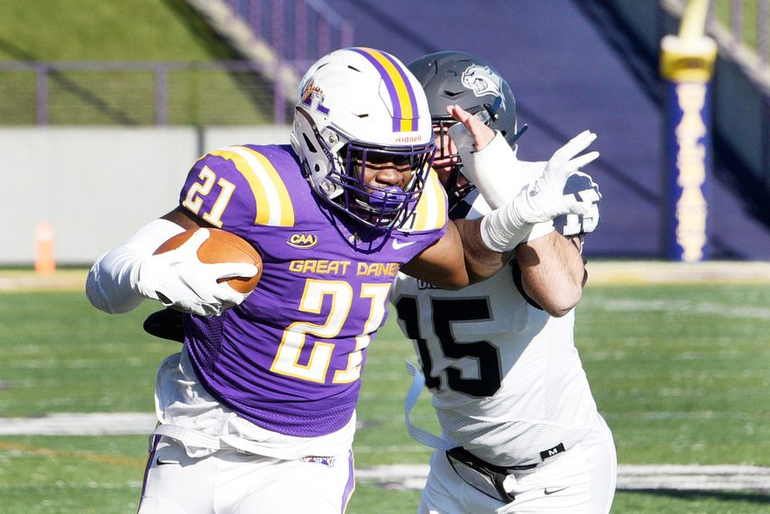 UAlbany running back Karl Mofor carries the ball during a Nov. 16, 2019 game against New Hampshire at Casey Stadium.