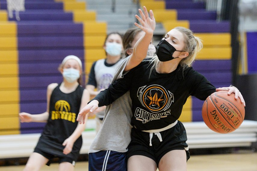Amsterdam senior basketball player Andie Gannon drives the lane Wednesday during the the Rams first practice of the winter season at Amsterdam High School.