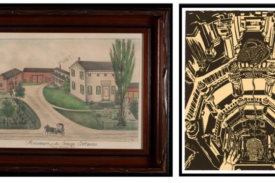 "Left: A landscape by artist Fritz G. Vogt titled ""Residence of Mr. George Getman, Stone Arabia, N.Y.,"" is one of many Vogt paintings that can be viewed on the Fennimore Art Museum's website. Right: Union's Mandeville Gallery has made its newest exhibit, ""Chitra Ganesh: Sultana's Dream,"" available online. Pictured is Ganesh's ""Oracle in the Baoli."" (photos provided)"