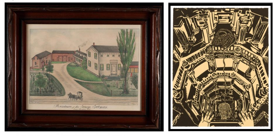"""Left: A landscape by artist Fritz G. Vogt titled """"Residence of Mr. George Getman, Stone Arabia, N.Y.,"""" is one of many Vogt paintings that can be viewed on the Fennimore Art Museum's website. Right:Union's Mandeville Gallery has made its newest exhibit, """"Chitra Ganesh: Sultana's Dream,"""" available online. Picturedis Ganesh's """"Oracle in the Baoli."""" (photos provided)"""