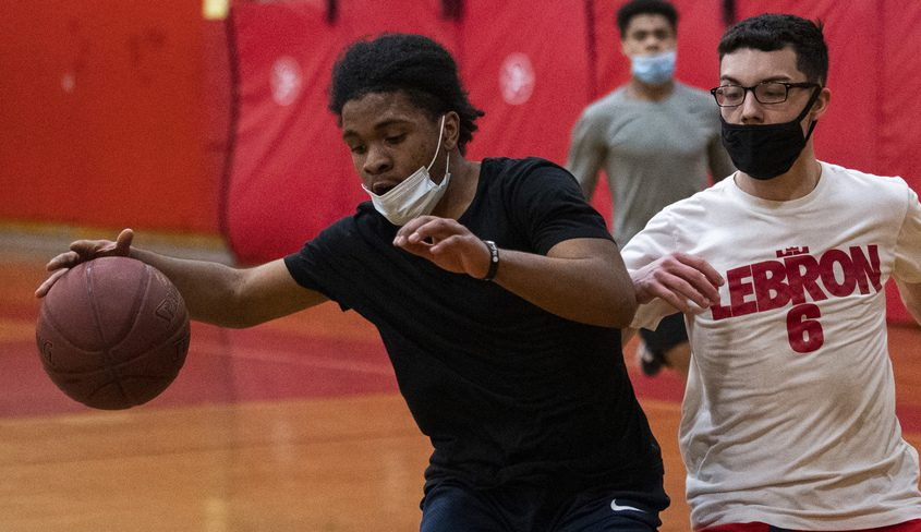 Schenectady basketball players Khalik Mayfield and Jaden Shaver go through drills at practice at Mont Pleasant Middle School Thursday