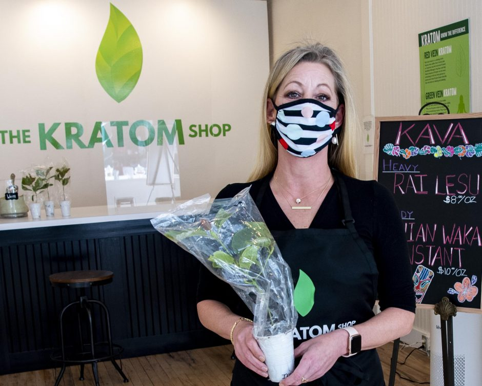Tracey Hudson, owner of the Kratom Shop at 160 Jay St. in Schenectady, is seen inside her shop on Jan. 28, 2021.