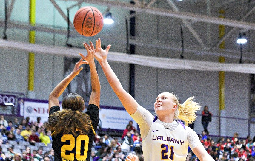 UAlbany women's basketball's Helene Haegerstrand, right, and the Great Danes play this weekend at Binghamton. (Gazette file photo)