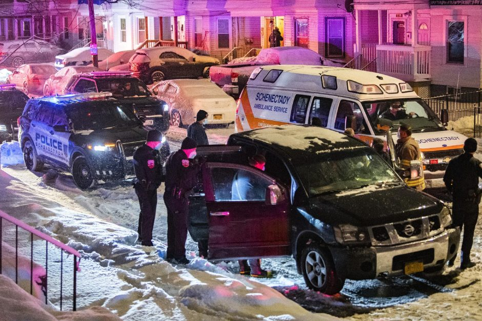 Police respond to an overdose call in Schenectady's Central State Street neighborhood Jan. 26