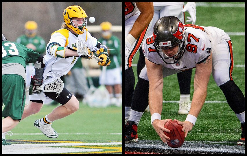 Zach Triner played lacrosse at Siena and will play in Sunday's Super Bowl for Tampa Bay. (Photo courtesy Siena College, The Associated Press)