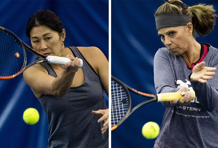 Patty DiCaprio, left, and Deb Davis at a recent tennis practice session at Sportime in Rotterdam. (Peter R. Barber/The Daily Gazette)