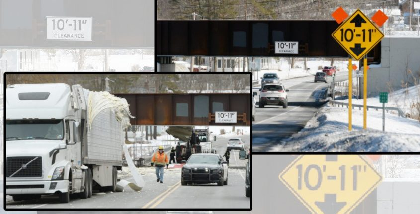 The bridge Monday (top right) and a truck that struck the bridge in January (bottom left)