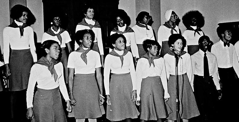 Singers perform at a teen conference sponsored by Schenectady's Refreshing Spring Church of God in Christ in 1975.