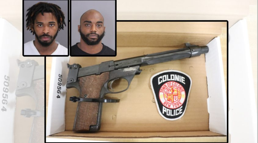 Shaimeek J. Collins, left, andDorrel O. Williams, right, along a photo of the gun police said they seized. Credit: Colonie Police Department