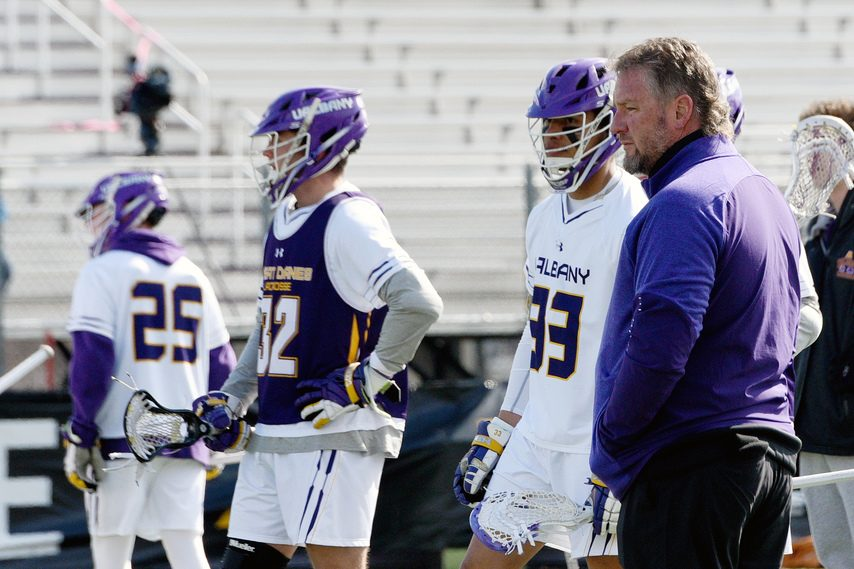 ERICA MILLER/STAFF PHOTOGRAPHER UAlbany men's lacrosse head coach Scott Marr's team was picked No. 2 in the America East preseason coaches poll.