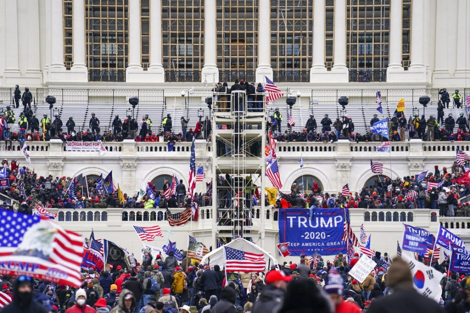 Insurrectionists loyal to President Donald Trump breach the Capitol in Washington Jan. 6