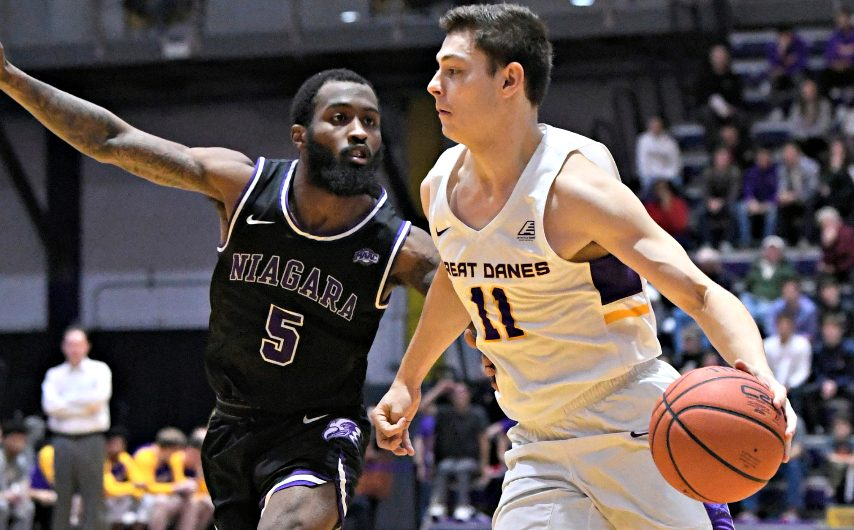 UAlbany's Cameron Healy, right, is shown during a game last season. (Gazette file photo)