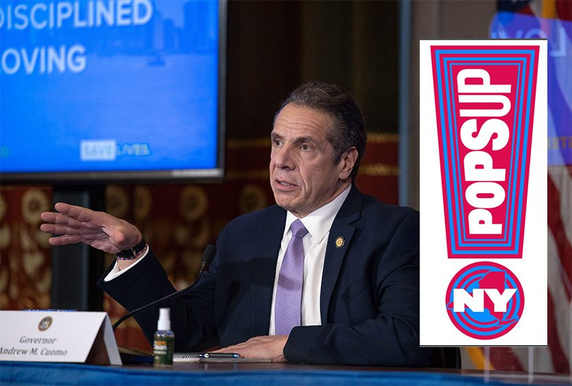 New York Gov. Andrew M. Cuomo and the NYPops-UP logo. (Mike Groll/Office of Governor Andrew M. Cuomo)