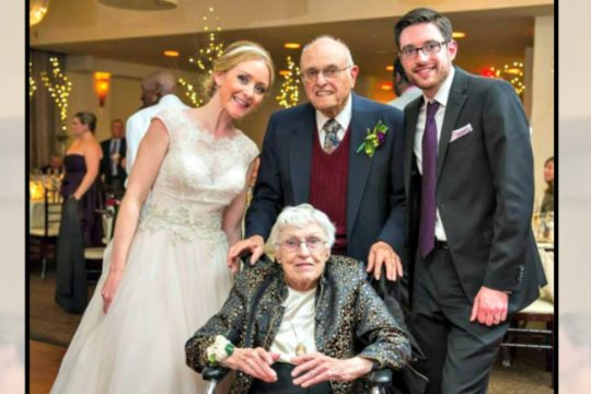 Ralph and Phyllis Lumb, center, are pictured at the wedding of their grandson, Timothy Lillis and his bride, Mandy. Provided