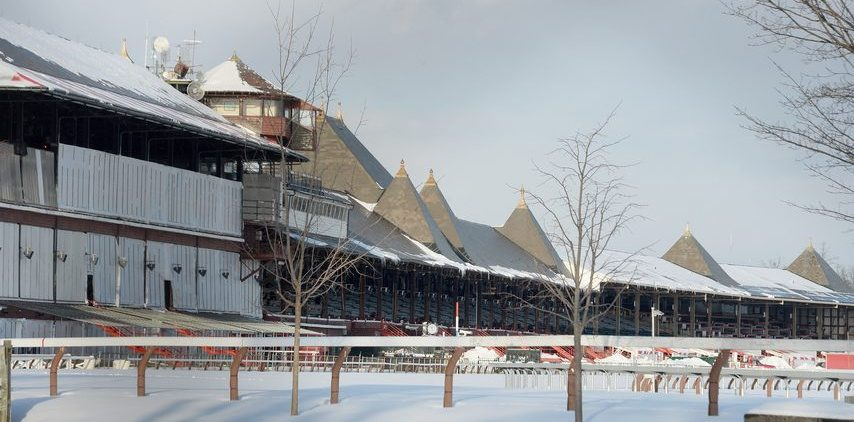 Saratoga Race Course, covered in snow on Wednesday