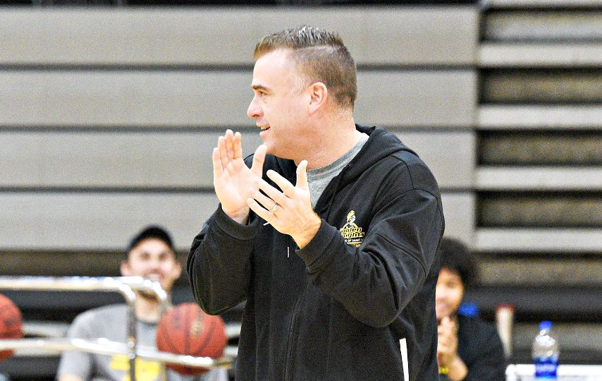 Saint Rose basketball coach Mike Perno is shown at a practice last season. (Gazette file photo)