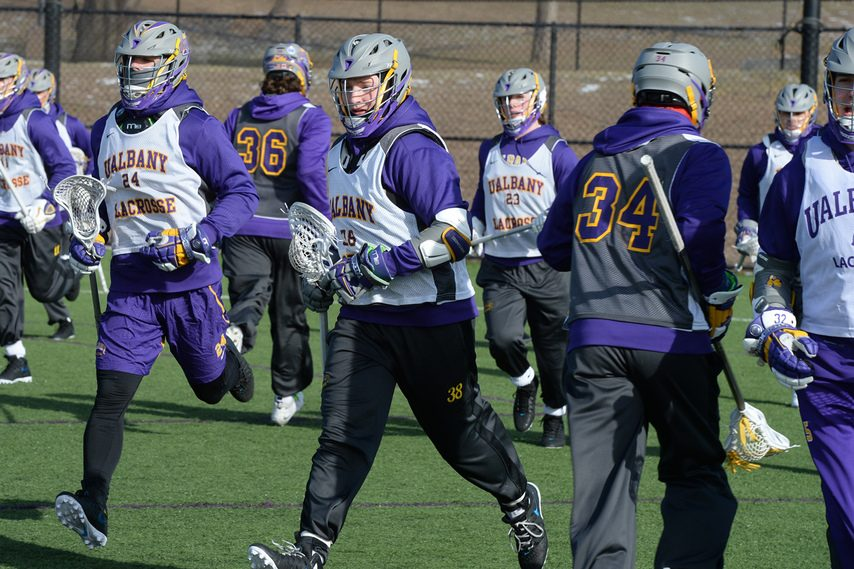 GAZETTE FILE PHOTOThe UAlbany men's lacrosse team, shown practicing at John Fallon Field in 2013, will use that field for its home games this season.