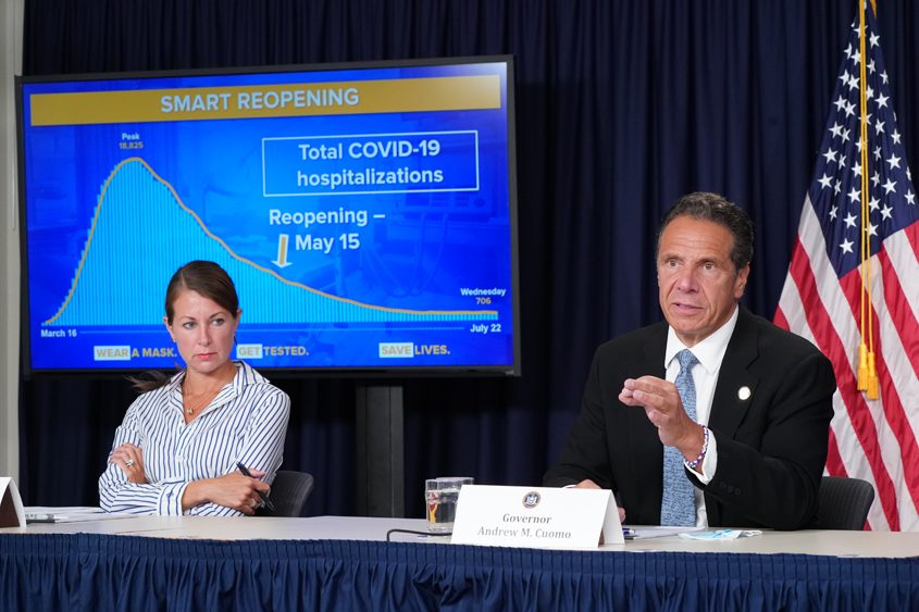 GOVERNOR'S OFFICESecretary to the Governor Melissa DeRosa listens to Gov. Andrew Cuomo during a July 23 briefing on the COVID crisis.