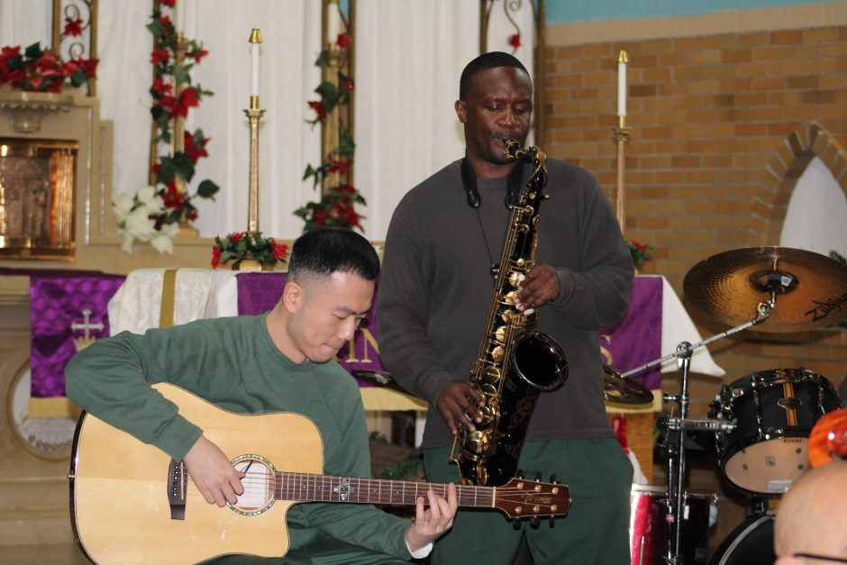 Inmates play instruments through the Musicambia program at Sing Sing Correctional Facility downstate in Ossining. (photo provided)